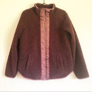 Abercrombie & Fitch Fleece Fuzzy Zip Up Jacket